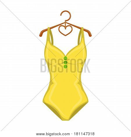 Monotone yellow swimsuit for girls. Bathing clothes in the pool.Swimcuits single icon in cartoon style vector symbol stock web illustration.