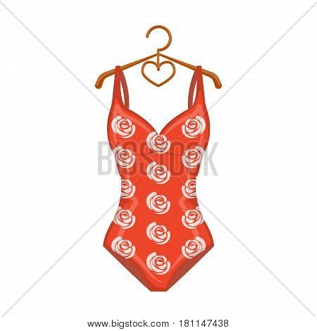 Crashing red swimsuit with a print of roses. Beach wear.Swimcuits single icon in cartoon style vector symbol stock web illustration.