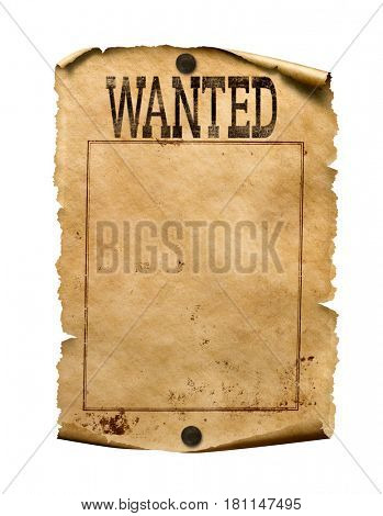 Wanted for reward poster 3d illustration isolated on white