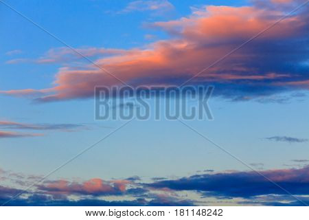 Beautiful sunset over Mediterranean sea natural sky background