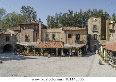 VAL'QUIRICO, TLAXCALA,MEXICO- MARCH 25, 2017: Medieval square with restaurants in Val'Quirico, a new town near to Tlaxcala, Mexico