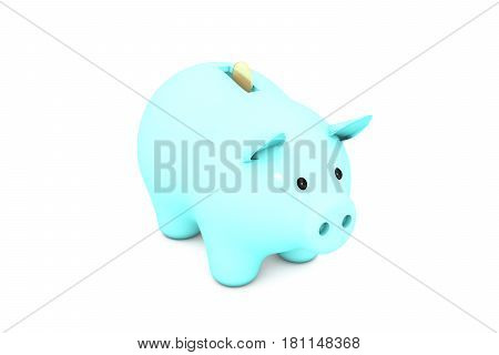 3d illustration: Acid light blue turquoise piggy bank with golden (copper) coin on a white isolated background