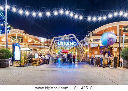 BANGKOK THAILAND - FEBRUARY 04: This is Asiatique the riverfront a famous boutique area with restaurants and cafes by the river on February 04 2017 in Bangkok