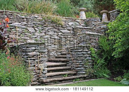 stone staircase in a formal garden setting