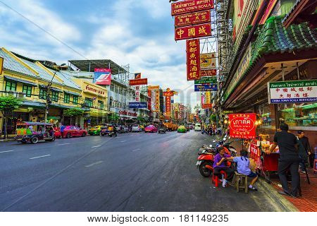BANGKOK THAILAND - FEBRUARY 03: This is one of the main roads in Chinatown Bangkok a popular tourist destination on February 03 2017 in Bangkok