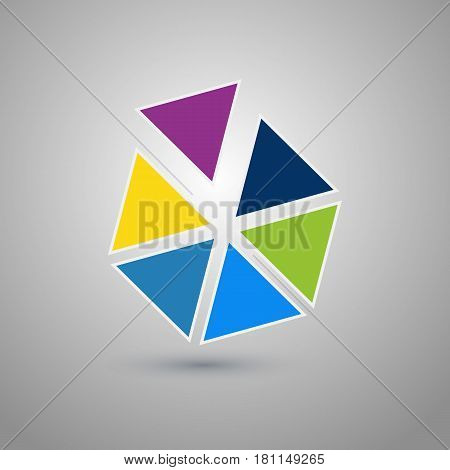 Abstract hexagonal logo design template. Colorful creative hexagon divided into segments sign. Universal vector icon.