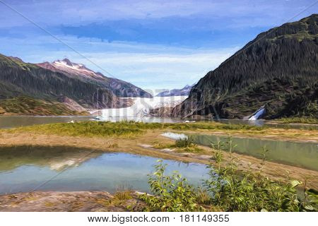 Illustrative image of Mendenhall glacier and Nugget falls near Juneau, Alaska