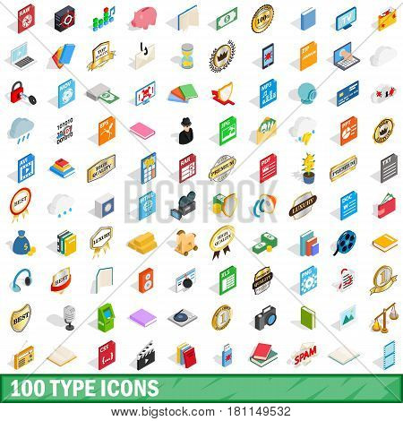 100 type icons set in isometric 3d style for any design vector illustration