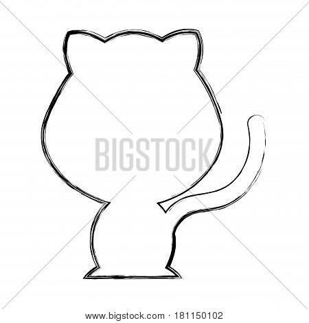 cute cat silhouette isolated icon vector illustration design