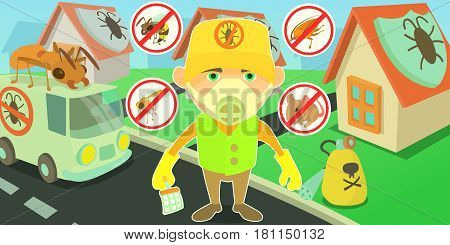 Pest control horizontal banner concept terminate. Cartoon illustration of pest control terminate vector horizontal banner for web