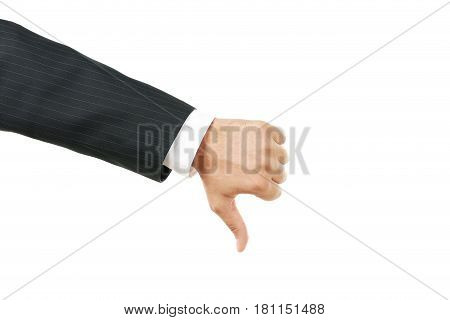 Businessman Gesturing Thumbs Down On White Background