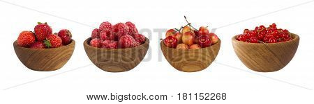 Collage of red fruits and berries isolated on white. Set of strawberries raspberries currants and cherries. Sweet and juicy berry with copy space for text. Ripe berries close-up. Background berry.