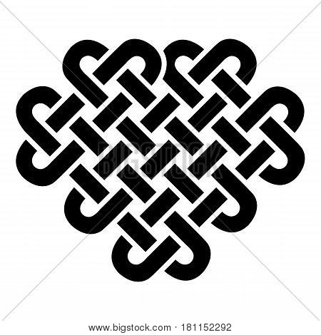 Celtic style heart based on eternity knot patterns in black on white background  inspired by Irish St Patrick's Day, and Irish and Scottish carving art