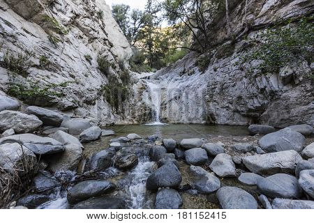 Switzer Falls in the San Gabriel Mountains of the Angeles National Forest near Los Angeles California.