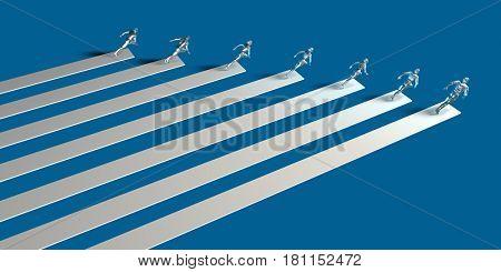 Businessmen Teamwork Running Together as a Concept in 3d 3D Illustration Render