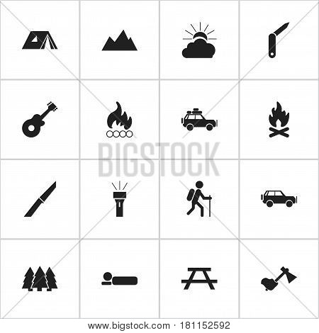Set Of 16 Editable Travel Icons. Includes Symbols Such As Bedroll, Ax, Sport Vehicle And More. Can Be Used For Web, Mobile, UI And Infographic Design.