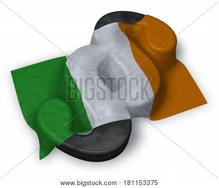 paragraph symbol and irish flag - 3d illustration