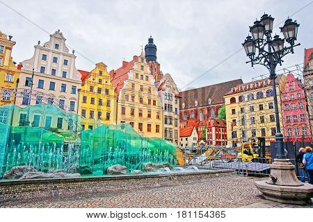 Fountain On Market Square Of Wroclaw