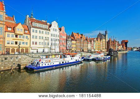 Ferry Boat At Waterside Of Motlawa River In Gdansk