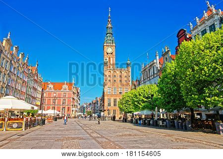 Gdansk, Poland - May 5, 2014: Main City Hall and Dlugi Targ Square in the old city center of Gdansk Poland. People on the background.