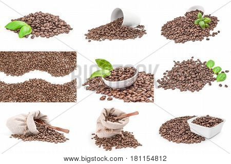 Collection of brown coffee beans isolated on a white background cutout