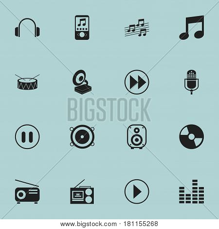 Set Of 16 Editable Melody Icons. Includes Symbols Such As Phonograph, Snare, Cassette Player And More. Can Be Used For Web, Mobile, UI And Infographic Design.