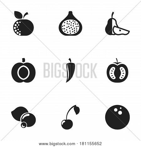 Set Of 9 Editable Kitchenware Icons. Includes Symbols Such As Bilberry, Morello, Chili And More. Can Be Used For Web, Mobile, UI And Infographic Design.