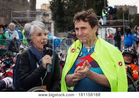 Rome Italy - April 2nd 2017: Alex Zanardi is the winner of the hand bike race of 23 Rome Marathon. Zanardi is interviewed shortly before departure.
