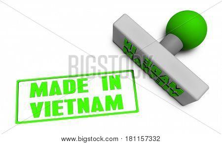 Made in Vietnam Stamp or Chop on Paper Concept in 3d 3D Illustration Render