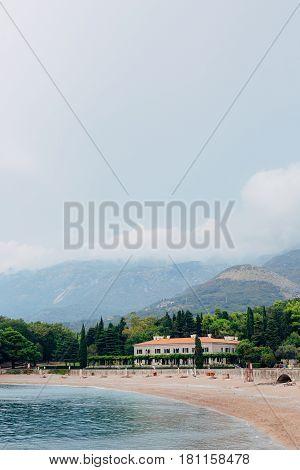 The park Milocer, Villa, beach Queen. Near the island of Sveti Stefan in Montenegro. Wide frame