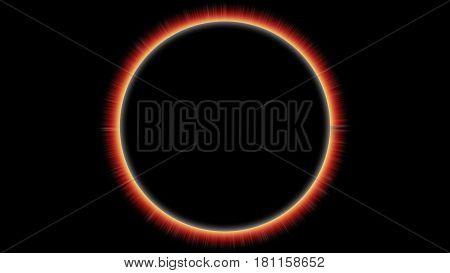 Solar Eclipse with Flares on Black background - illustration