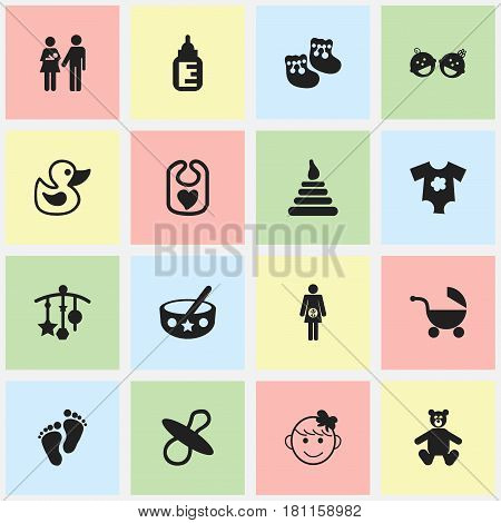 Set Of 16 Editable  Icons. Includes Symbols Such As Footmark, Soothers, Nursing Bottle And More. Can Be Used For Web, Mobile, UI And Infographic Design.
