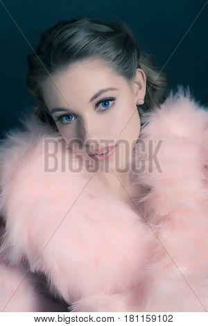 Sensual Retro 1940S Glamour Portrait Of Young Woman Wearing Feather Boa.