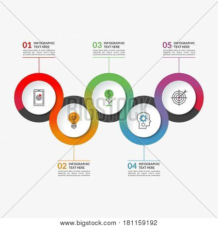 Timeline infographic banner of 5 round elements surrounded by a colorful ribbon. Can be used for chart, graph, workflow layout, step by step infographics