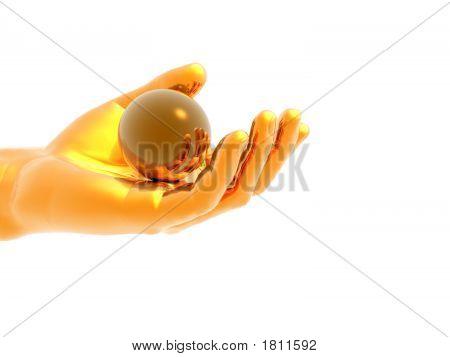 Brass hand holding a gold sphere - digital artwork. poster