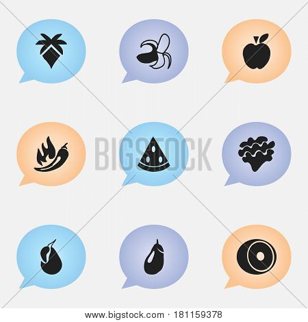 Set Of 9 Editable Dessert Icons. Includes Symbols Such As Avocado, Paprika, Eggplant And More. Can Be Used For Web, Mobile, UI And Infographic Design.