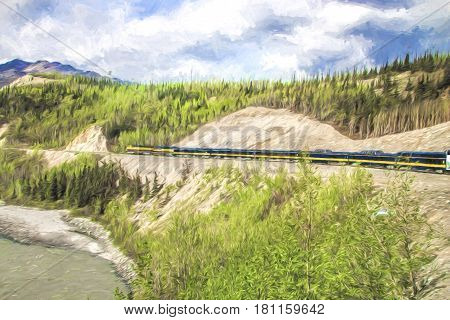 Impressionistic landscape of a train running along a river under cloudy skies.