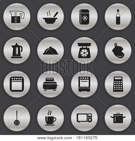 Set Of 16 Editable Cooking Icons. Includes Symbols Such As Beer, Dish, Cooker And More. Can Be Used For Web, Mobile, UI And Infographic Design.