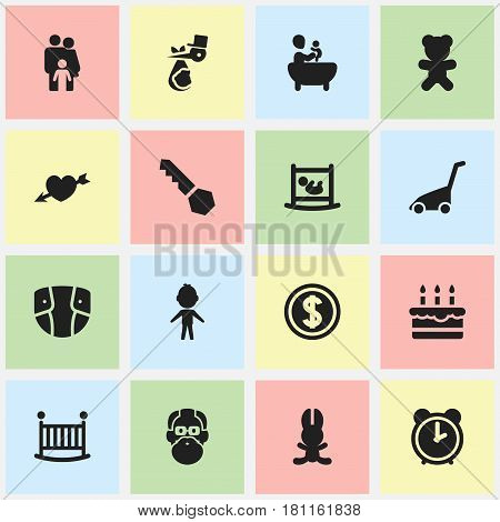 Set Of 16 Editable Family Icons. Includes Symbols Such As Toy, Lock, Hour And More. Can Be Used For Web, Mobile, UI And Infographic Design.