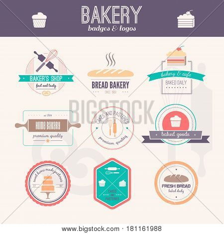 Set of vector bakery logos. Bread and pasteries labels, badges and design elements. Fresh baked goods.