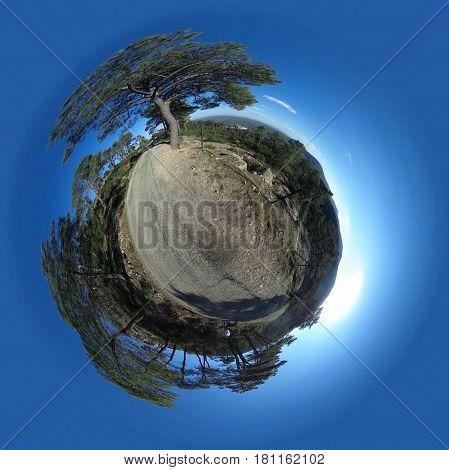 Little planet of Monte Abantos, in San Lorenzo de El Escorial. Madrid's community. Spain.