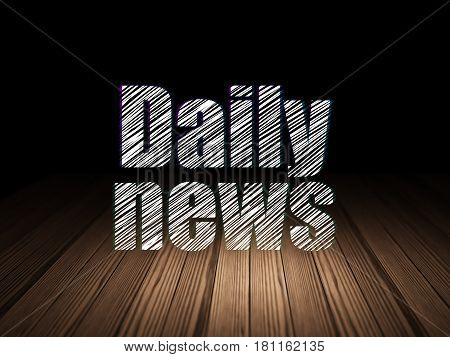 News concept: Glowing text Daily News in grunge dark room with Wooden Floor, black background
