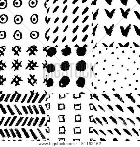 Collection of nine hand drawn rough seamless pattern, each one can be used separately. Rough vectore textures.