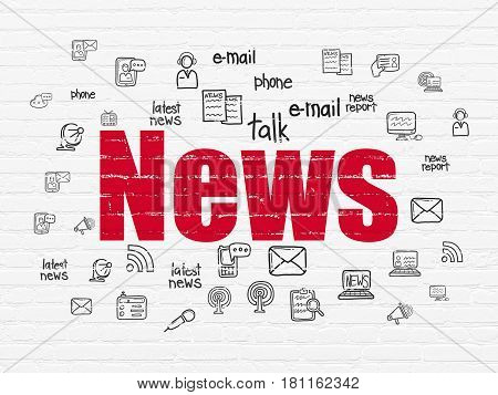 News concept: Painted red text News on White Brick wall background with  Hand Drawn News Icons