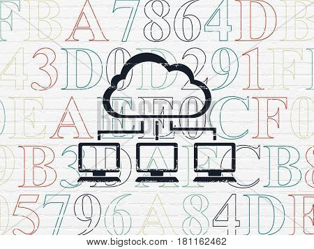 Cloud computing concept: Painted black Cloud Network icon on White Brick wall background with  Hexadecimal Code