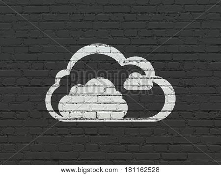 Cloud networking concept: Painted white Cloud icon on Black Brick wall background