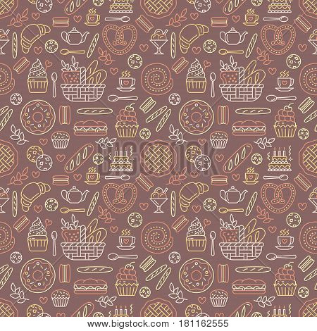 Bakery seamless pattern, food vector background of brown, yellow color. Confectionery products thin line icons - cake, croissant, muffin, pastry, cupcake, pie. Cute repeated illustration for sweet shop.