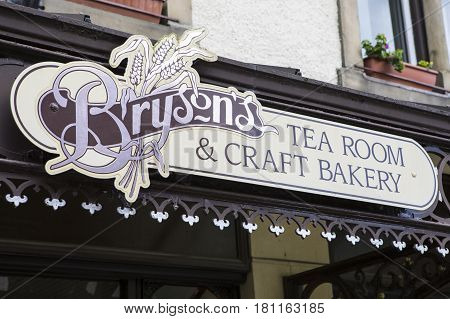 KESWICK UK - APRIL 7TH 2017: The sign above the main entrance to Brysons Team Room and Craft Bakery in Keswick in Cumbria UK on 7th April 2017.