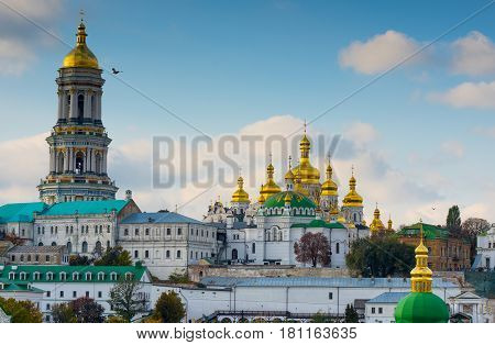 Kiev-Pechersk Lavra in summer against the blue sky
