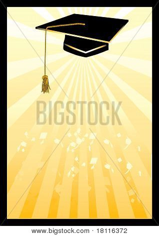Graduation mortar card in yellow spotlight.